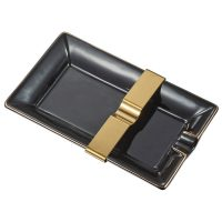 Black Rectangular Ceramic Cigar Ashtray with Metal Rest