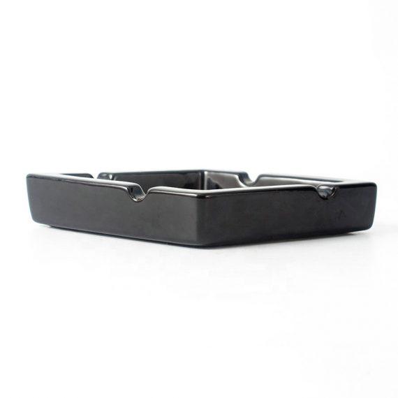 Black Rectangular Ceramic Cigar Ashtray