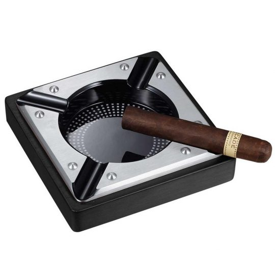 Black Metal Wood Cigar Ashtray CA-070