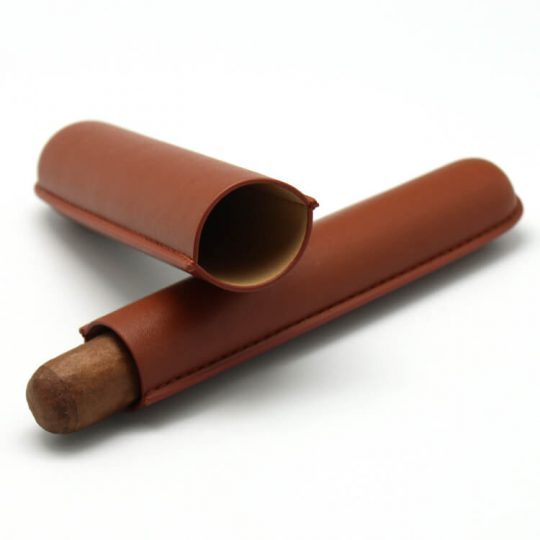 Single Brown Cigar Leather Case CC-8010