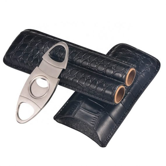 2 Leather Cigar Case with Cutter CC-8021