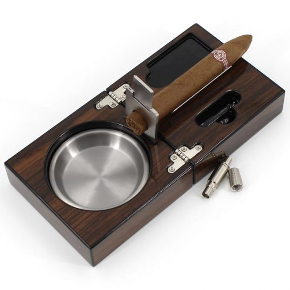 Polished Walnut Travel Cigar Ashtray with Cutter Punch
