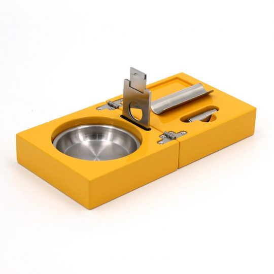 Polished Yellow Travel Cigar Ashtray Kit