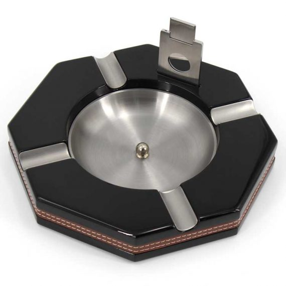 Black Hexagon Cigar Ashtray with Cutter CA-0568
