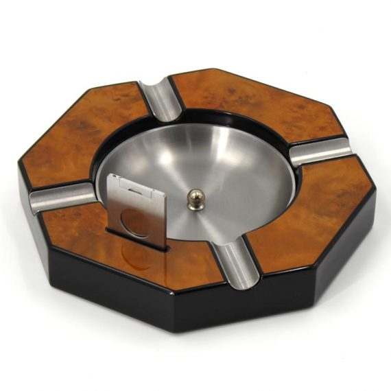 Brown Hexagon Wood Cigar Ashtray with Cutter CA-0568