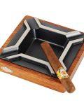 Large Square Merbau Zinc Alloy Cigar Ashtray