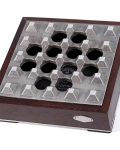Grey Grid Wood Metal Cigar Ashtray CA-088