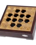 Gold Grid Wood Metal Cigar Ashtray CA-088