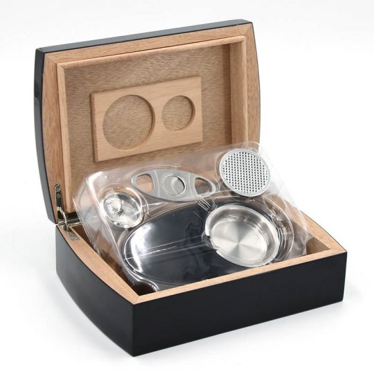 Wood Humidor Gift Set with Ashtray and Cutter