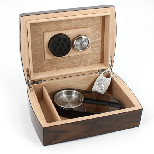 Wood Humidor Gift Set with Ashtray and Cutter CH-0120N
