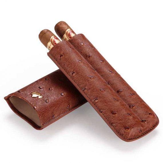 Cohiba Brown Ostrich Cigar Travel Case CC-8025