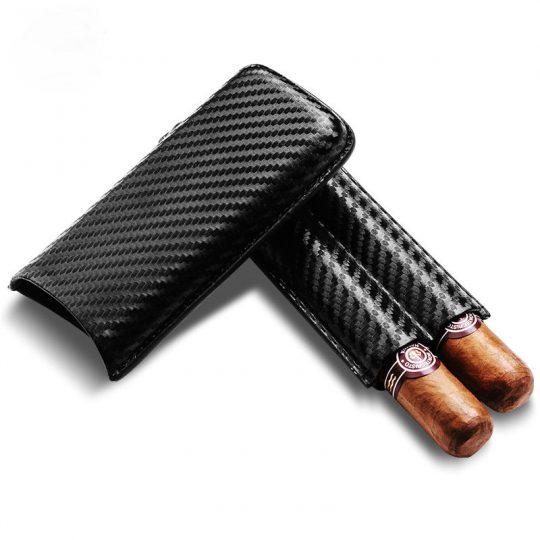 Carbon Fiber 2 Finger Cigar Case CC-8026