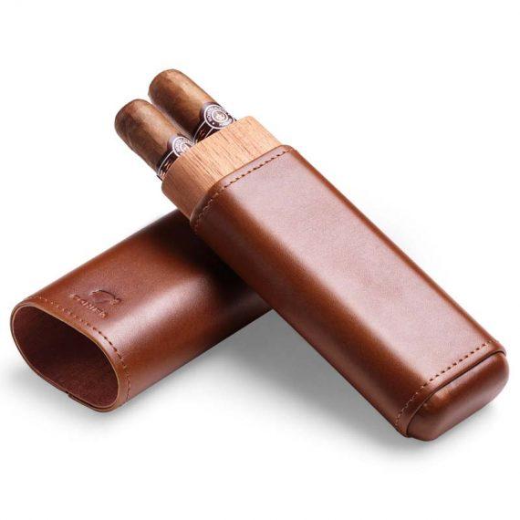 Cohiba Cedar Wood Brown Cigar Leather Case CC-8027