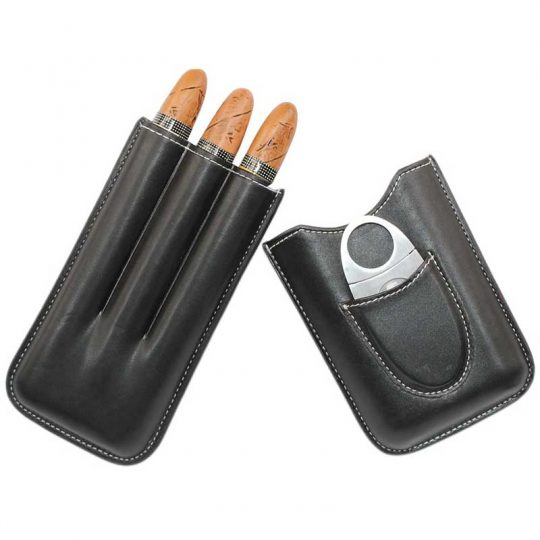 Genuine Leather Cigar Case with Cutter CC-8031