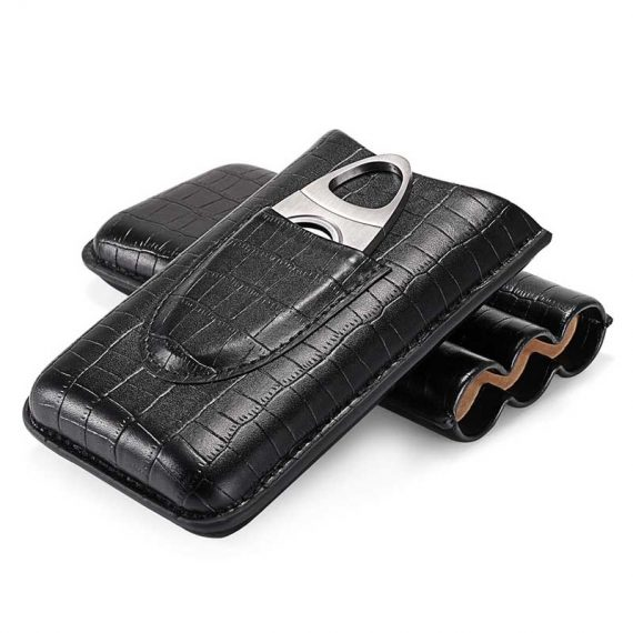 3 Finger Cigar Leather Case With Cutter CC-8032