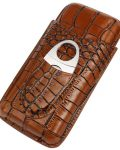3 Finger Cigar Brown Leather Case With Cutter CC-8032
