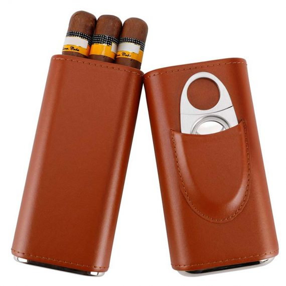 Brown Leather Cigar Case with Cutter CC-8036