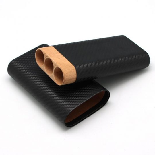 Cedar Wood Black Carbon Fiber Case CC-8037