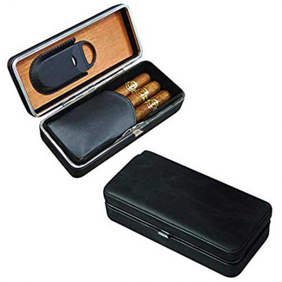 3 Cigar Black Travel Case with Cutter CC-8040