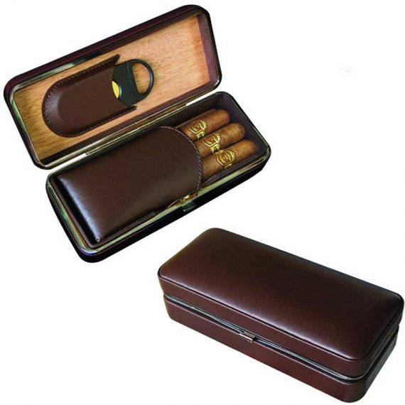 3 Cigar Brown Travel Case with Cutter CC-8040
