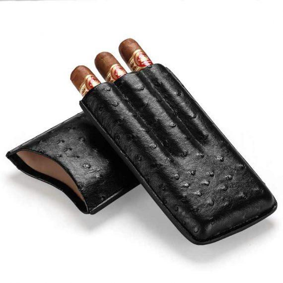 Cohiba Ostrich Black Leather Cigar Case CC-8045