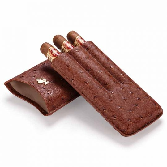 Cohiba Ostrich Brown Leather Cigar Case CC-8045