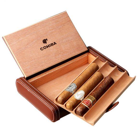 Cohiba Brown Leather Cigar Travel Humidor Case CC-8050