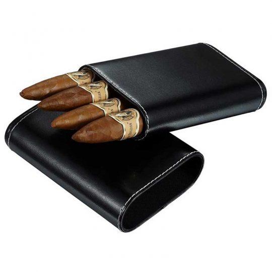 Black Leather Cigar Case with Cedar Lining CC-8052