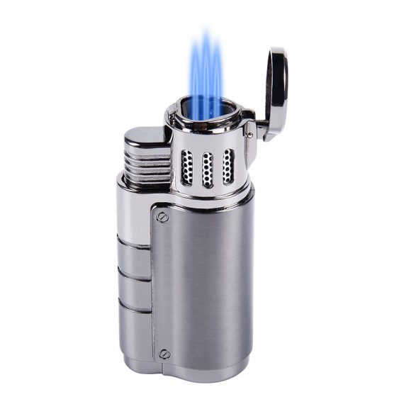 Gun Metal Triple Torch Cigar Lighter w/ Punch Cutter CL-051