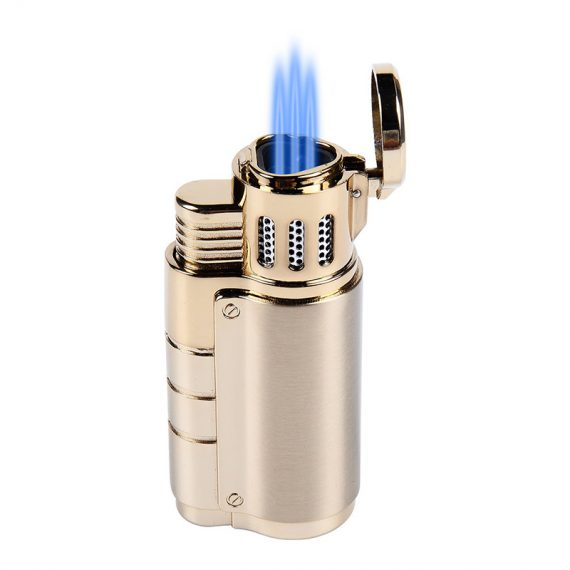 Gold Triple Torch Cigar Lighter w/ Punch Cutter CL-051