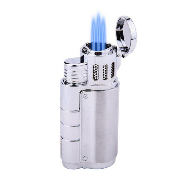 Silver Triple Torch Cigar Lighter w/ Punch Cutter CL-051
