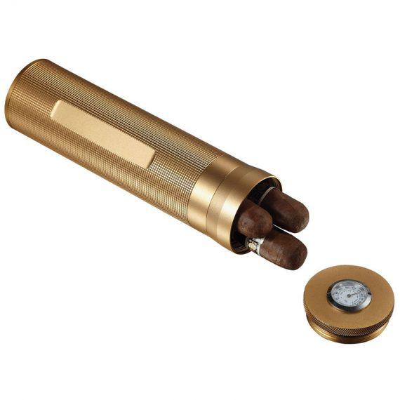 Gold Aluminum Travel Cigar Case CT-1030