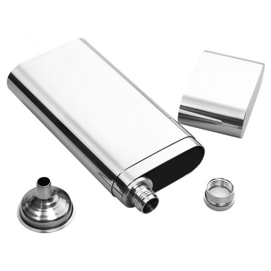Stainless Steel 2 Finger Cigar Case with Flask CT-1033