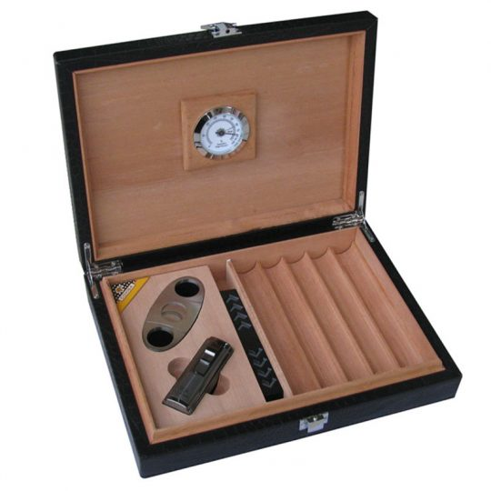 Leather Humidor Set with Cutter and Lighter CH-0963S