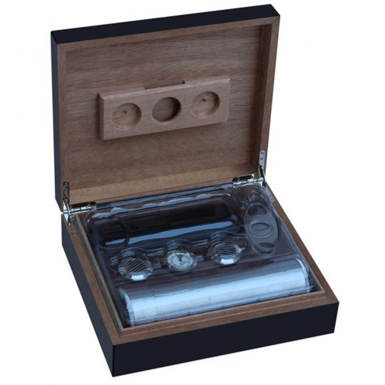 Leather Humidor Kit with Cigar Cutter and Tube Case CH-1032S