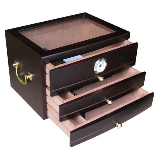 Glass Top Humidor with Drawers CH-0302M