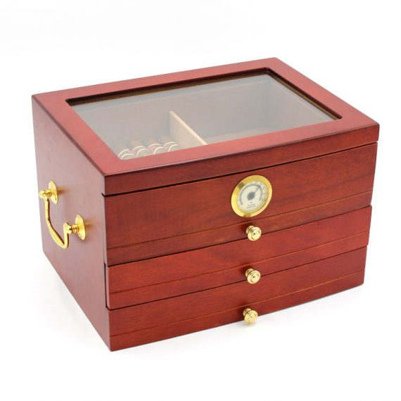 Glass Top Humidor with Drawers CH-0302